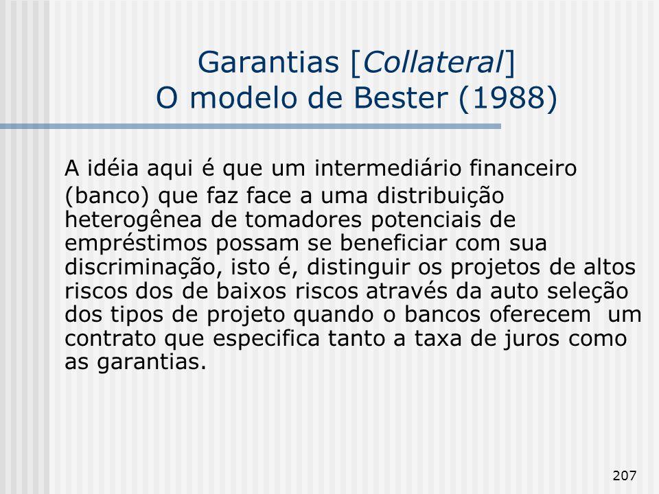 Garantias [Collateral] O modelo de Bester (1988)